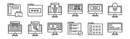 set of 12 linear web development icons. thin outline Vector Illustratie