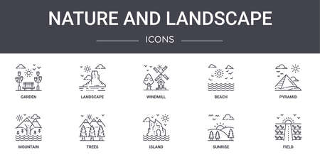set of 10 nature and landscape concept line icons