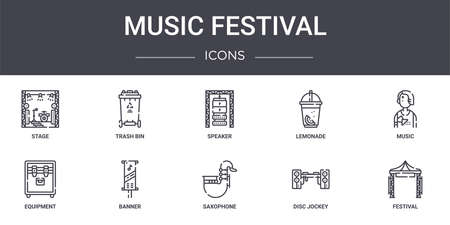 set of 10 music festival concept line icons  イラスト・ベクター素材