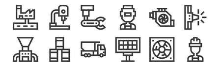 set of 12 linear industrial process icons. thin outline Vektorové ilustrace