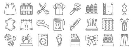 sewing line icons. linear set. quality vector line