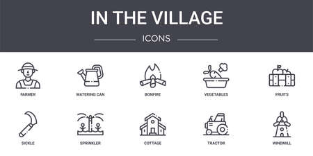 set of 10 in the village concept line icons Vettoriali