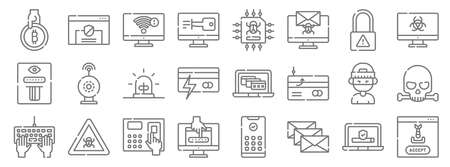 hacker line icons. linear set. quality vector line