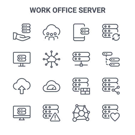 set of 16 work office server concept vector line icons. Stock Illustratie