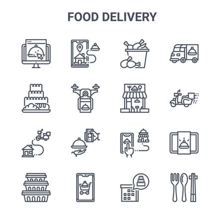 set of 16 food delivery concept vector line icons.