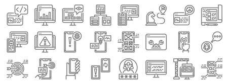 user experience line icons. linear set. quality vector line
