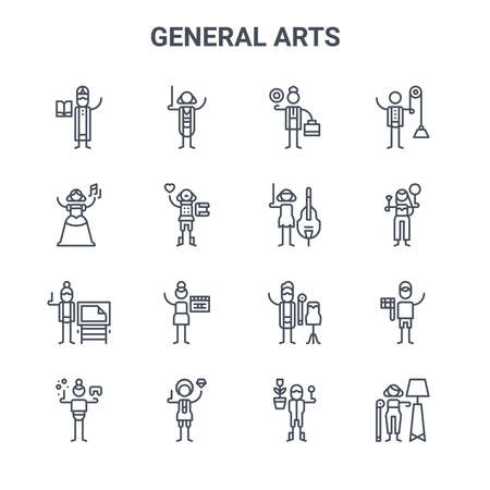 set of 16 general arts concept vector line icons.