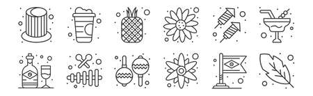 set of 12 linear brazilian carnival icons. thin outline