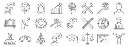 life skills line icons. linear set. quality vector line