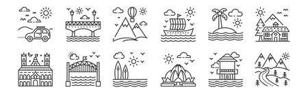 set of 12 linear tourism icons. thin outline