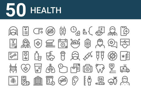 set of 50 health icons. thin outline