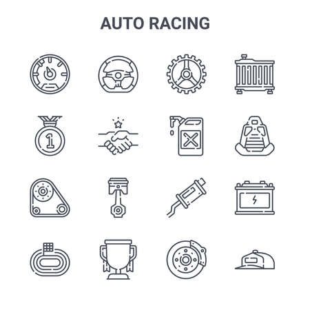 set of 16 auto racing concept vector line icons.