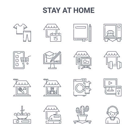 set of 16 stay at home concept vector line icons. Ilustração