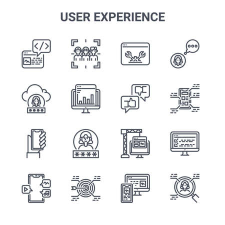 set of 16 user experience concept vector line icons.