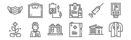 set of 12 linear medical services icons. thin outline