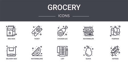 set of 10 grocery concept line icons