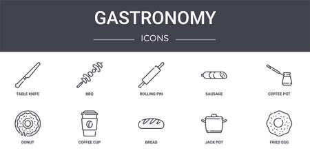 set of 10 gastronomy concept line icons Ilustracja