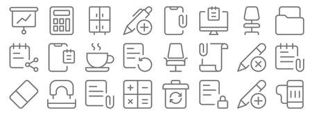 work office supply line icons. linear set. quality vector line Illustration