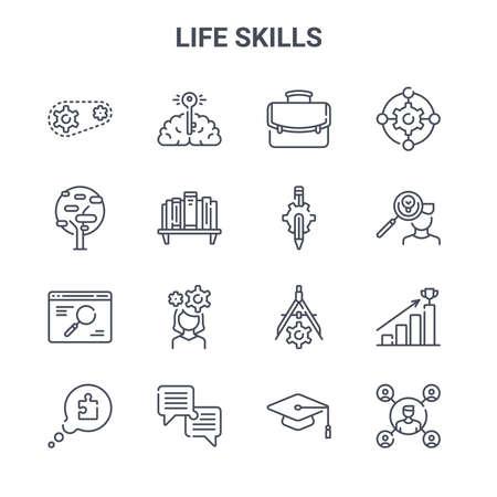 set of 16 life skills concept vector line icons. Ilustração