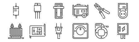set of 12 linear electrician tools and elements icons. thin outline Stock Illustratie
