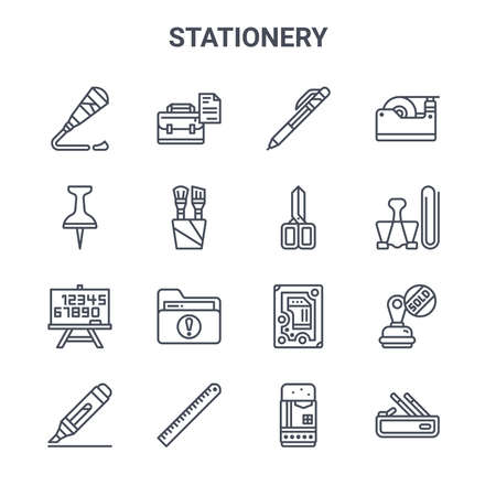 set of 16 stationery concept vector line icons. Vettoriali