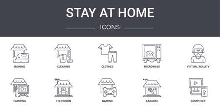 set of 10 stay at home concept line icons