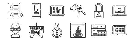 set of 12 linear hacker icons. thin outline Ilustracja