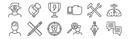 set of 12 linear life skills icons. thin outline