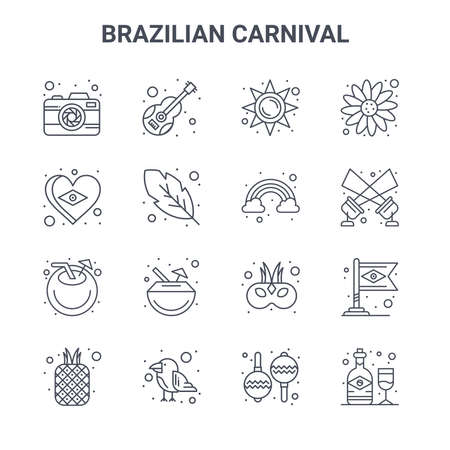 set of 16 brazilian carnival concept vector line icons.