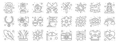 brazilian carnival line icons. linear set. quality vector line  イラスト・ベクター素材