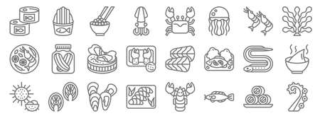 seafood line icons. linear set. quality vector line