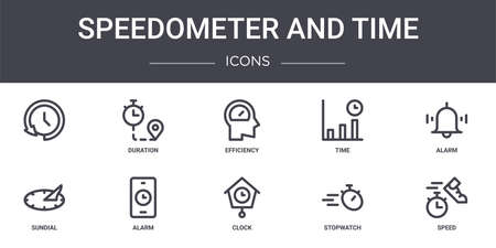 set of 10 speedometer and time concept line icons
