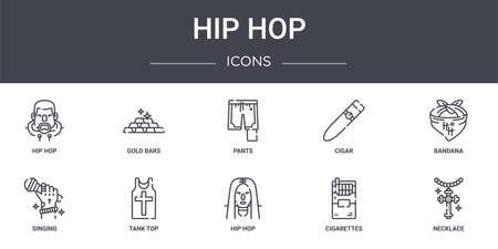 set of 10 hip hop concept line icons Ilustrace