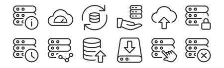 set of 12 linear work office server icons. thin outline