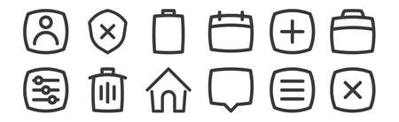set of 12 linear basic ui icons. thin outline