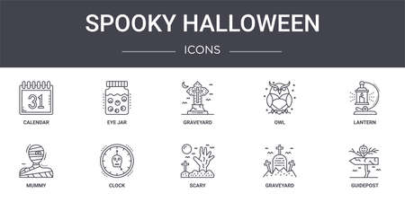 set of 10 spooky halloween concept line icons Illustration