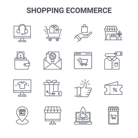 set of 16 shopping e-commerce concept vector line icons.