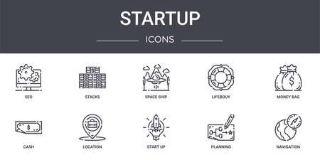 set of 10 startup concept line icons