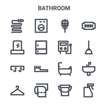 set of 16 bathroom concept vector line icons. Ilustracja