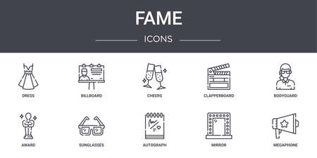 set of 10 fame concept line icons