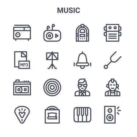 set of 16 music concept vector line icons. Ilustrace