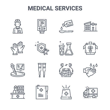 set of 16 medical services concept vector line icons.