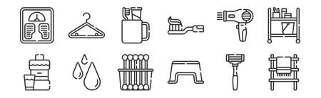 set of 12 linear bathroom icons. thin outline