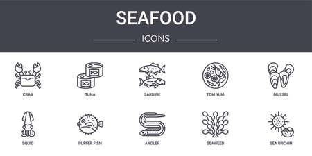 set of 10 seafood concept line icons  イラスト・ベクター素材