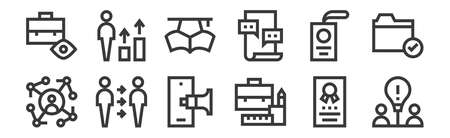 set of 12 linear job resume icons. thin outline 向量圖像
