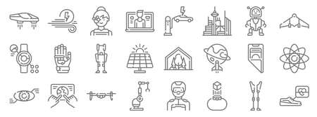 technology of the future line icons. linear set. quality vector line