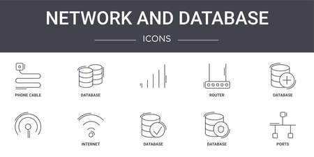 set of 10 network and database concept line icons 矢量图像