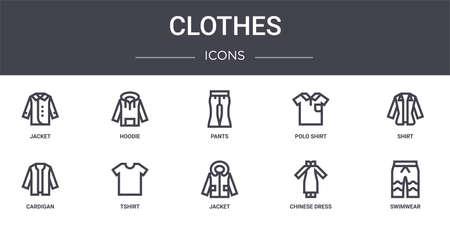 set of 10 clothes concept line icons