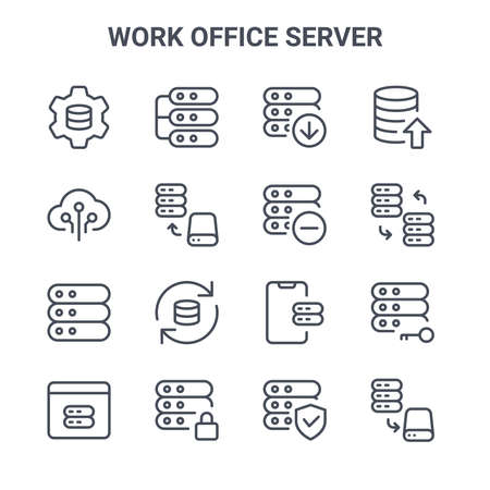 set of 16 work office server concept vector line icons. 矢量图像