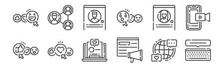 set of 12 linear social media icons. thin outline